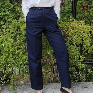 Vintage Navy Pendleton 100% Virgin Wool Winter High Waisted Lined Pants 28 in